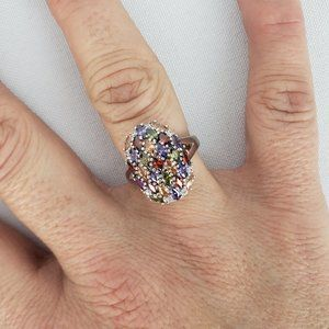 925 Sterling Silver Colorful Stone Ring Size 8